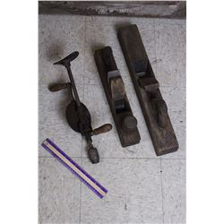Antique Wood Planes&A Drill