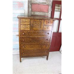 "Antique 1916 Tall Fumed Finish Dresser 55.5"" tall x37 x19.5 SHIPPED IN 1916 TAG"