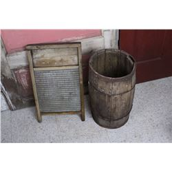 Antique Washboard And Barrel