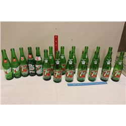 Lot of Vintage 7-Up Glass Bottles (18)