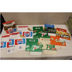 Lot of Vintage Pop Related Cardboard Bottle Carriers