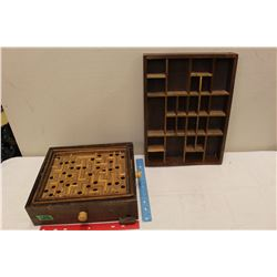 Vintage Wooden Marble Game&A Vintage Thimble Display Case