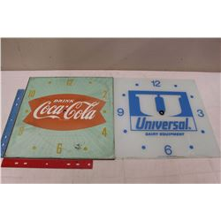 Advertising Clock Faces (2)(Coco-Cola& Universal Dairy Equipment)