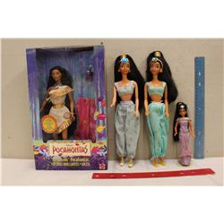 Princess Jasmine Barbie Dolls (3)& A Pocahontas Barbie Doll