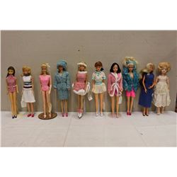 Lot of Vintage Barbie Dolls (10)w/Stands