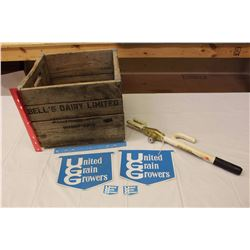 "Bell's Dairy Ltd Wooden Crate (14""x12""x14.5""),United Grain Growers Stickers, Etc"