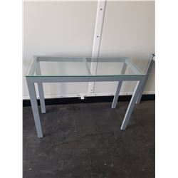"Pair of Rectangle Tables w/Glass Top& Metal Base(40""x16""x30.5"")(One Pictured)"