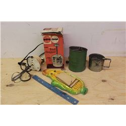 Lot Of Vintage Kitchen Related (Flour Sifter, Food Chopper, Electric Mixer For Jar, Corn Note Pad)