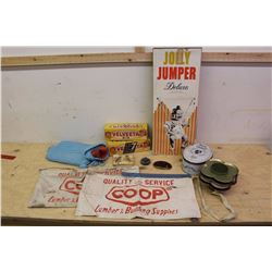 Lot Of Vintage Misc (Velveeta Boxes, Co-op Aporns, See's Candy Tin, Jolly Jumper, Candle Holders, Et