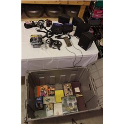 Lot Of Misc Electronics W/ Large Plastic Tub (Cordless PC Controller, Speakers, Cameras, Chargers, C