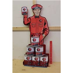 Reproduction Red Indian Oil Display And Set Of Cans