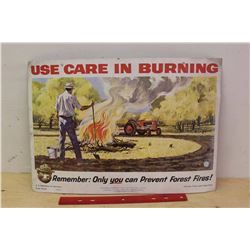 Wisonsin Conservation Department, Smokey The Bear, Use Care In Burning, Cardboard Ad