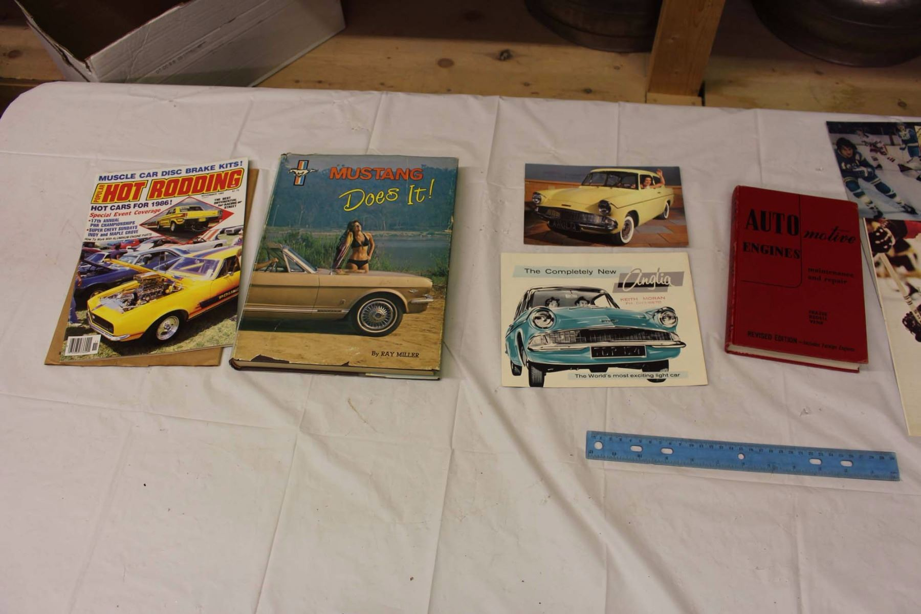 Lot Of Vintage Auto Books And Hockey Ads