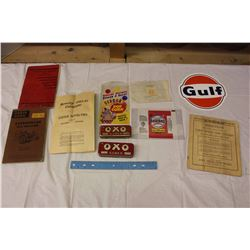 Lot Of Vintage Manuals And Misc. (Novelty Catalogue, Caterpillar Tractor, Gulf Decal, Oxo Tins, Pack