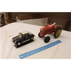 Metal Massey Harris Tractor Toy, Wooden Hubs, W/ Toy Car