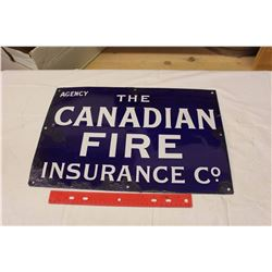 The Canadian Fire Insurance Co Porcelain Sign