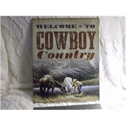 "Cowboy Country Metal Sign (12""x16"")"