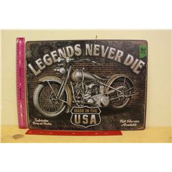 "Motorcycle Metal Sign (12""x16"")"