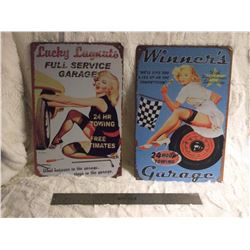 2 Metal Garage Signs
