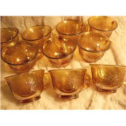 Set of 10 Carnival Glass Punch Cups (Grape&Holly)