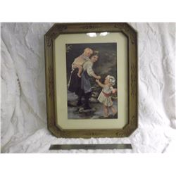 "Ornately Carved Frame w/Vintage Print (19""x16"")"