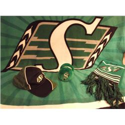 Sask Roughriders Blanket, Cap, Scarf&Ear Muffs