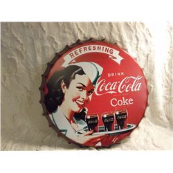 Coke Bottle Cap Metal Sign