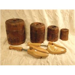 Wood Cannister Set& Shoe Stretchers (Hand Carved Set)