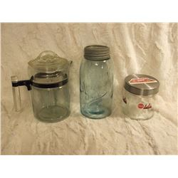 Pyrex Coffee Pot, Gem Sealer& Coke Jar