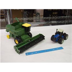 Pair Of Metal Tractor Toys (JD Turbo Combine, 846 Ford)