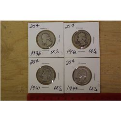 U.S Silver 25 Cents (1936,1941,1942,1944)