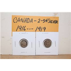 1916&1919 Canada 5 Cent Silver Coins