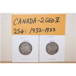1932&1933 Canada 25 Cent Silver Coins