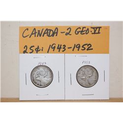 1943&1952 Canada 25 Cent Coins