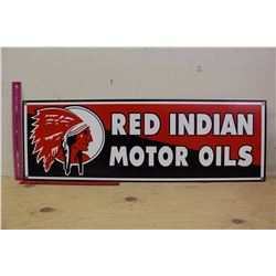 Red Indian Motor Oils Reproduction Metal Sign (30 x10 )