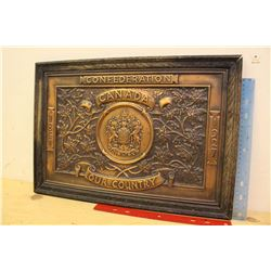 1867-1927 Copper Confederation School Plaque, In Original Oak Frame