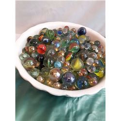 Lot of Marbles In A White Bowl