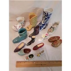 Lot of Ceramic& Wooden Shoes