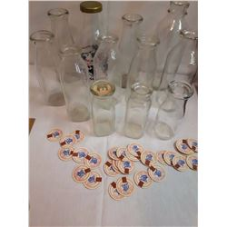 Lot of Vintage Cream& Milk Bottles w/Some Bottle Tops