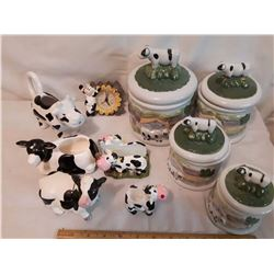 Sheep Canister Set& Ceramic Cow Ornaments