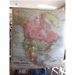 Old North American Canvas Map