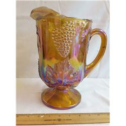 Tall Carnival Glass Pitcher