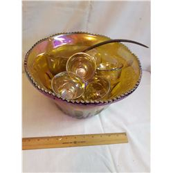Carnival Glass Punch Bowl