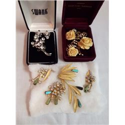 3 Brooches& Earring Sets (Clip-On)