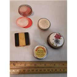 Vintage Hand Salve, Rouge Containers& Pill Box