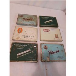 Cigarette Tins (6)(1950's)(Players, Turret, Macdonald, Sweet Caporal)
