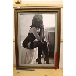 "Large Wooden Framed Vintage Picture of A Lady (38.5""x28.5"")"