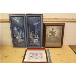 Lot of Wooden Frames w/Pictures/Art (4)