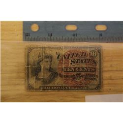 1863 US Fractional Currency Civil War Era (10 Cents)