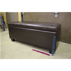 "Dark Brown Cushioned Bench w/Shoe Holders Inside (40""x18""x17"")"